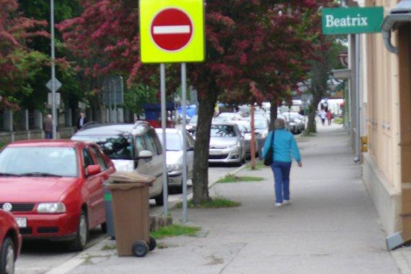 Od polovice ulice je jednosmerka. Pani Anna preto prešla sbicyklom na chodník abolo zle.