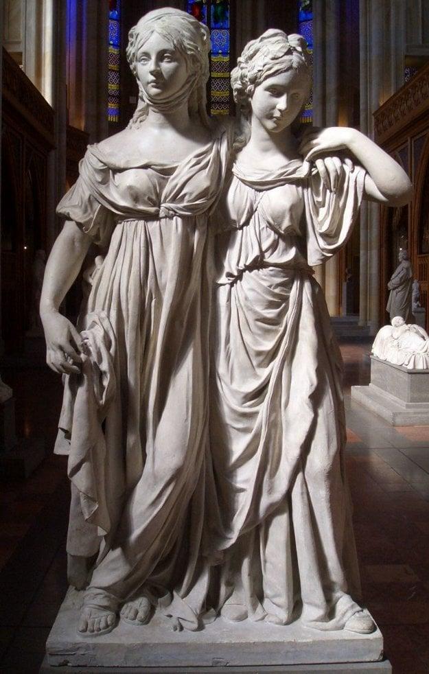 Socha Luisi a jej sestry Frederiky. Fridrich Wilhelm však nepovolil jej vystavenie, pretože je príliš