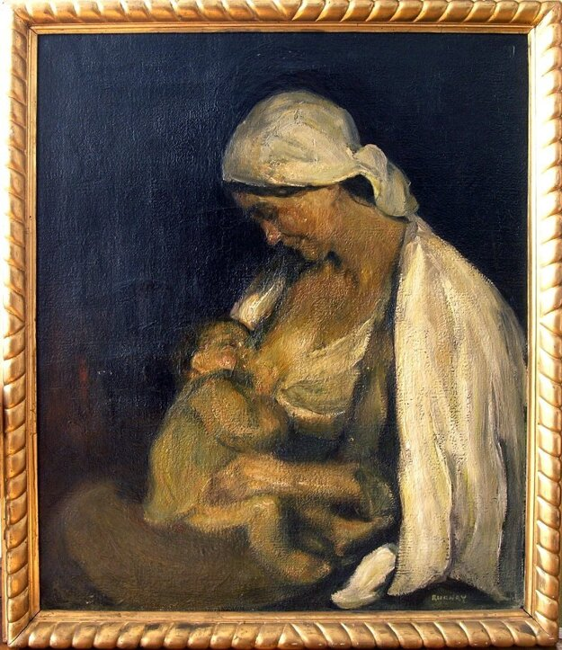 Olejomaľba materstvo (1908-1911) od Júliusa Rudnayho.