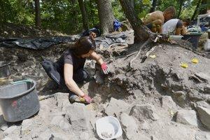 Na snímke archeológovia a brigádnici pracujú na nálezisku Hradisko v lokalite Neštich pri Svätom Jure.