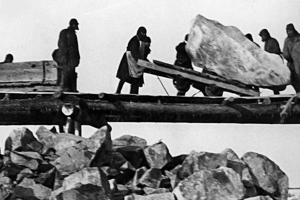 Väzni pracujú na budovaní kanála.