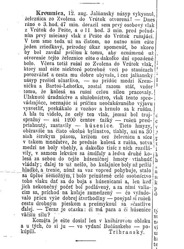 Článok v Národných novinách z 15. augusta 1872.