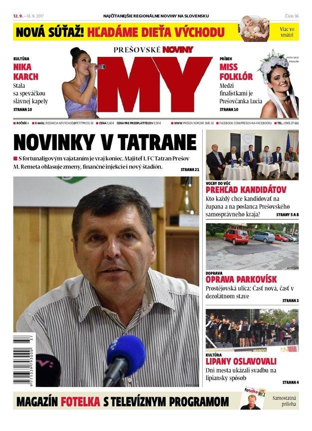 Titulná strana týždenníka MY Prešovské noviny č. 37/2017.