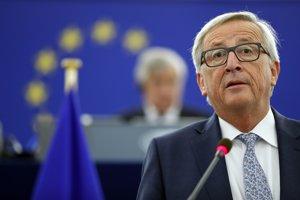 Jean-Claude Juncker počas prednesu správy o stave Únie.
