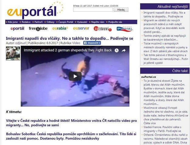 Euportal.cz video spája s migrantmi. Pochádza pritom z Maroka.