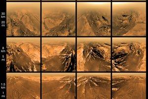 Jedny z prvých farebných záberov povrchu mesiaca Titan zo sondy Huygens z januára 2005. Huygens cestovala k Saturnu spolu s Cassini. Neskôr sa odpojila na samostatnú časť misie na mesiaci Titan.