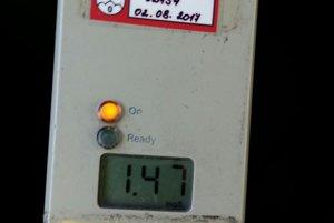 Hodnota 1,47 mg/l predstavuje 3,06 promile.