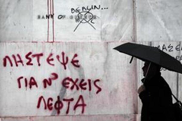 Grécku národnú banku počas posledných demonštrácií premenovali na Berlínsku banku.