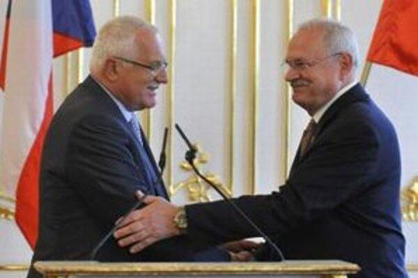 Prezident Českej republiky Václav Klaus a prezident SR Ivan Gašparovič.