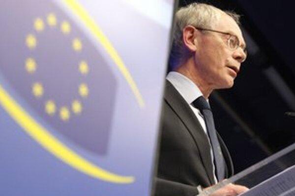Herman Van Rompuy na summite EÚ.
