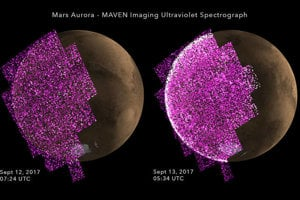 Ultrafialové zábery jasnej polárnej žiary v septembri 2017. Fialové a biele farby ukazujú intenzitu ultrafialového svetla na nočnej strane Marsu pred (vľavo) a po (vpravo) slnečnej búrke.
