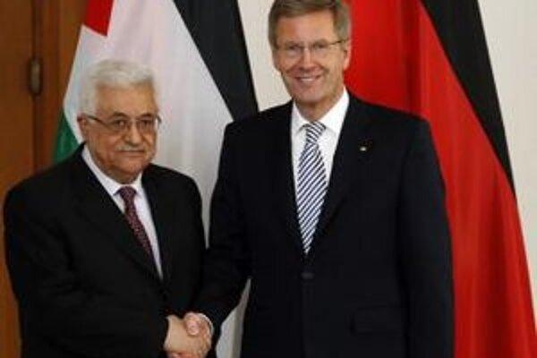 Palestínsky prezident Mahmúd Abbás s nemeckým prezidentom Christianom Wulffom.