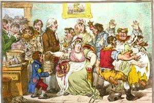 Karikaturista James Gillray zobrazil strach a konbtroverziu, ktorá sprevádzala očkovanie proti kiahňam. Vakcína obsahovala vírus pochádzajúci z kráv.