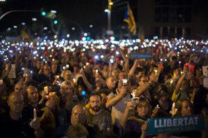 Sviečková demonštrácia v Barcelone.