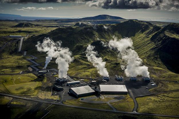 Experimentálna geotermálna elektráreň v islandskom Hellsheidi.