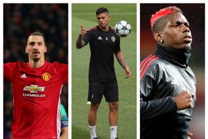 Traja veľmi dôležití hráči sa vracajú do zostavy United - Ibrahimovič (vľavo), Marcos Rojo (uprostred) a Pogba.