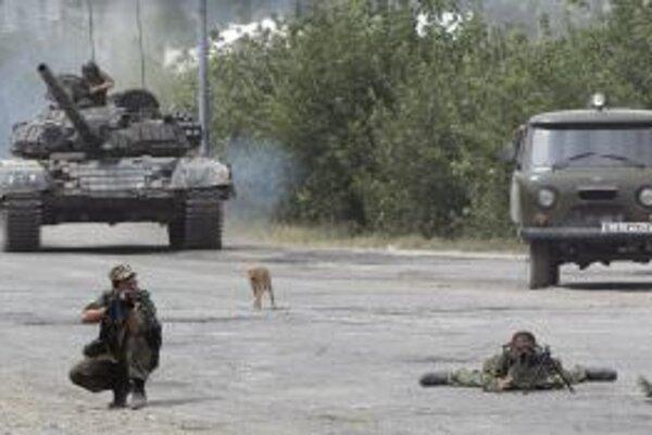 Ruskí vojaci neďaleko gruzínskeho mesta Gori.