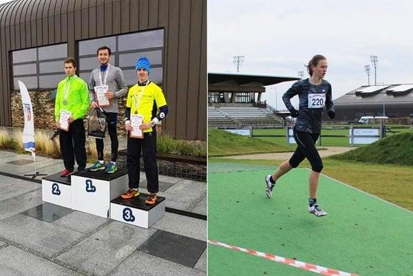 Na najvyššom stupni víťazov junior Miroslav Borovka. Vpravo na šamorínskej trati Veronika Zrastáková.
