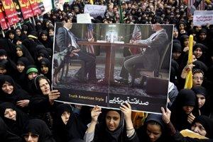 PlagátTakto vidia iránski konzervatívci rokovania medzi Amerikou a Iránom.
