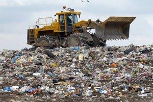 Kompaktor na zhutňovanie komunálneho odpadu.