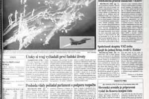 NATO pod vedením USA zaútočilo letecky na srbské pozície v rozpadávajúcej sa Juhoslávii, v snahe zastaviť vojnu v Kosove, čo sa zhruba za tri mesiace podarilo. Vláda Mikuláša Dzurindu povolila prelety lietadiel nad Slovenskom.