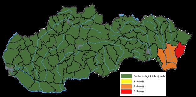Hydrologické výstrahy o 20.00 h sa obmedzili už iba na niektoré južné okresy Zemplína, stále je tam však vyhlásený II. a III. stupeň.