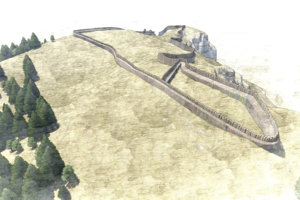 Hypotetická rekonštrukcia opevnenia hradiska Katová skala (autor: M. Horňák a I.Furuglák).