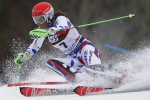 Petra Vlhová v 1. kole slalomu v Záhrebe.
