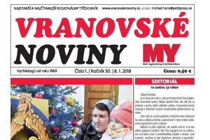 Titulná strana týždenníka Vranovské noviny č. 1/2017 - 50. ročník.