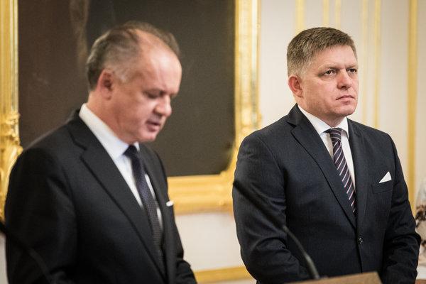 Prezident Andrej Kiska a premiér Róbert Fico.