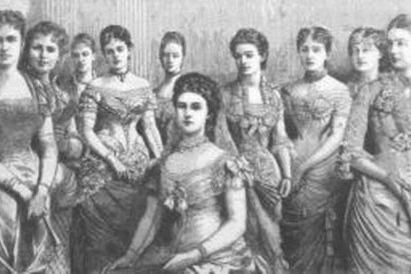 Cisárovná Alžbeta v kruhu mladých aristokratiek