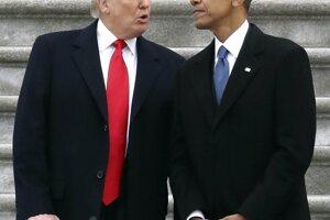 S bývalým prezidentom Barackom Obamom počas inauguračného aktu.