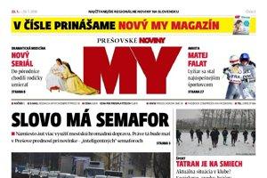 Titulná strana týždenníka MY Prešovské noviny č. 3/2018.