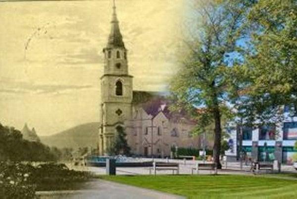 Pohľad na časť námestia s evanjelickým kostolom v minulosti a dnes.