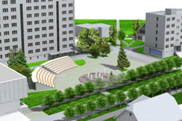 Predbežný návrh námestia v Hriňovej.