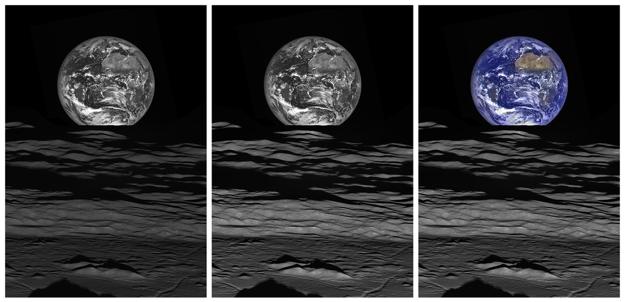 Na ľavom obrázku je kontrast oboch telies rovnaký. Na strednom obrázku je upravený jas Mesiaca a na pravej strane je pridaná farba na Zem.