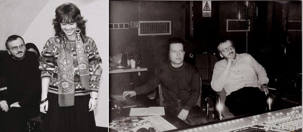 Anton Zelený v začiatkom 90. rokov. Vľavo s poetkou Tatianou Lehenovou, vpravo s publicistom a hudobníkom Marianom Jaslovským pri nahrávaní hudby pre divadlo GUnaGU.