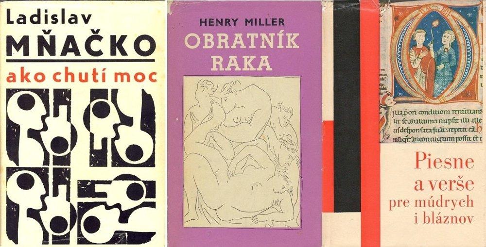 Pôvodné obálky priekopníckých kníh, v ktorých sa v 60. rokoch vyskytli jeden či dva vzácne vulgarizmy.