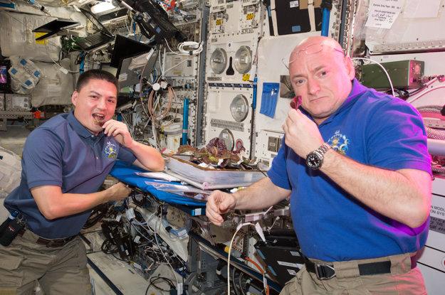 Astronauti Scott Kelly a Kjell Lindgren jedia prvé jedlo, ktoré vypestovali vo vesmíre.