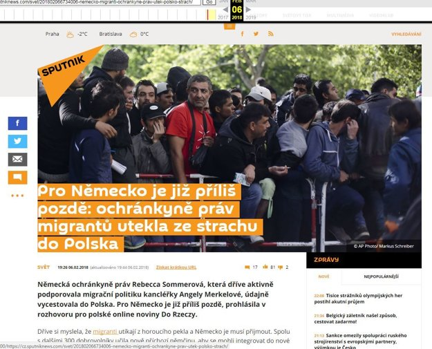 Webarchive.org ešte stále archivuje pôvodný článok českého Sputnika.