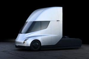 Tesla Semi, plne elektrický ťahač. Vyrábať by sa mal začať v roku 2019.