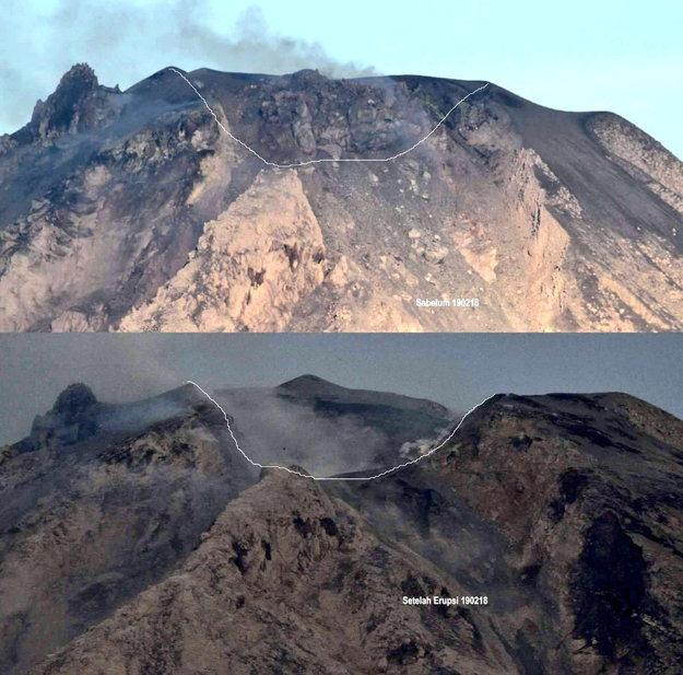Sopka Sinabung pred a po výbuchu.