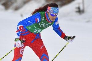 Barbora Klementová počas tímového šprintu na olympiáde v Pjongčangu.