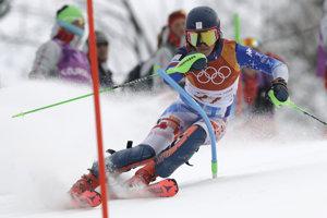 Barbara Kantorová v slalomovej časti alpskej kombinácie.
