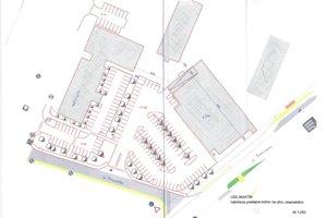 Vizualizácia osadenia obchodu, parkovísk i zmeny dopravy.
