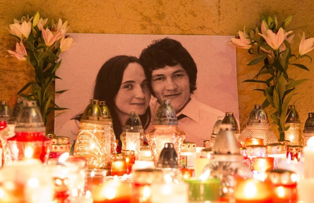 Martina Kušnírová a Ján Kuciak na spomienkovej fotografii.