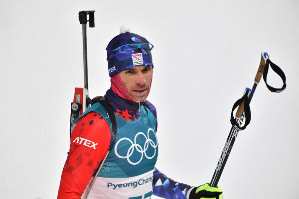 Slovenský biatlonista Matej Kazár počas pretekov v biatlone - šprint mužov na 10 km na ZOH 2018.