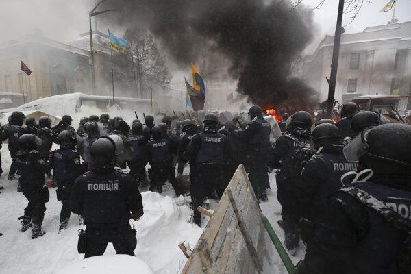 Zásah polície v Kyjeve.