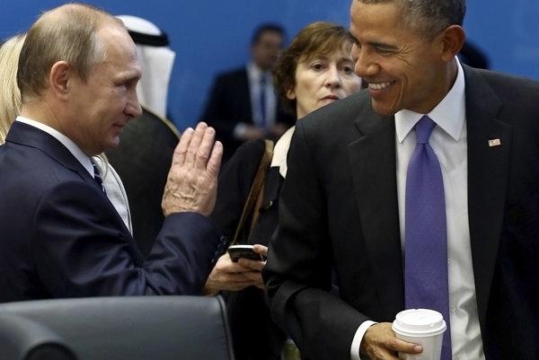 Vladimir Putin a Barack Obama.
