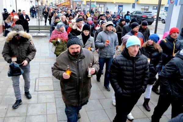 Minulotýždňový pochod mestom Martin.